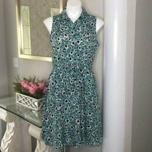 Loft Sleeveless Floral Shirtdress, Size 8